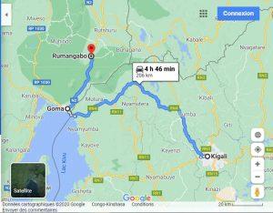 Congo Nyiragongo and Gorillas experience map