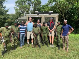 Tourists accompanied with armed rangers