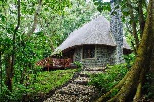 Virunga National Park Congo Mikeno Lodge outside view